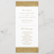 Faux Gold Glitter Wedding Program Rack Cards