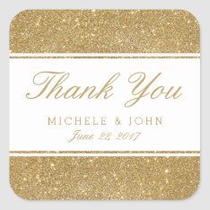 Faux Gold Glitter Wedding Thank You Favor Stickers at Zazzle
