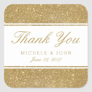 Faux Gold Glitter Wedding Thank You Favor Stickers