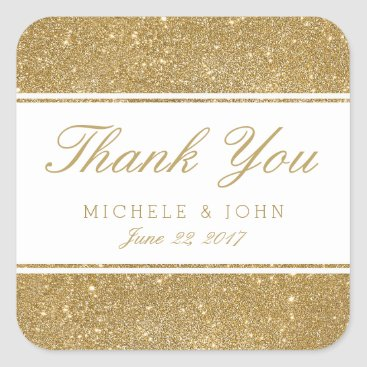 pinkpinetree Faux Gold Glitter Wedding Thank You Favor Stickers