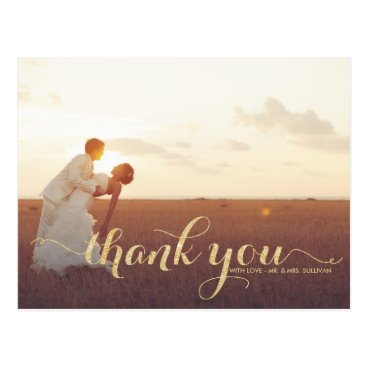 misstallulah Faux Gold Glitter Wedding Thank You Postcard