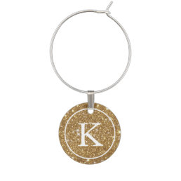 Faux Gold Glitter with Monogram Initial Wine Glass Charm