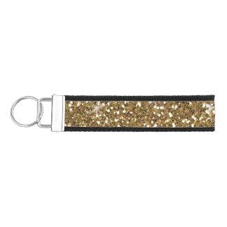 Faux Gold Glitter Wrist Keychain