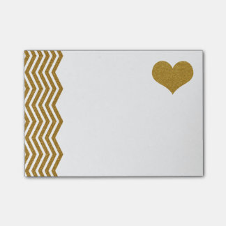FAUX Gold Glitter Zigzag And Heart (printed flat) Post-it® Notes