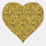 Faux Gold Glittery Sequin Confetti Heart Sticker