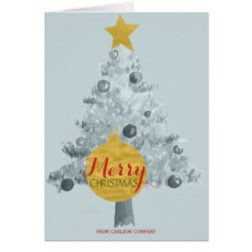 Professional Business Faux gold globe star blue tree red Merry Christmas Card