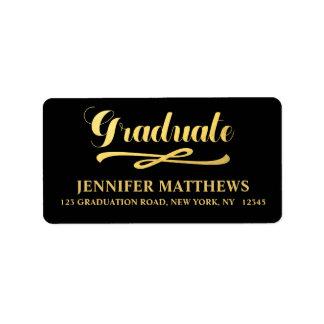 Faux Gold Graduation Address Label