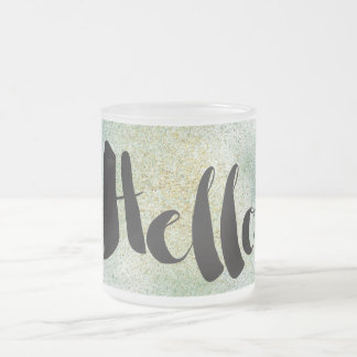 Faux Gold Green Blue Glitter Hello Frosted Glass Coffee Mug
