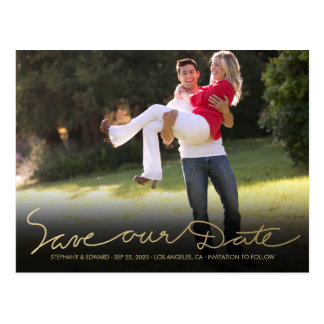 Faux Gold Handwrite Save our Date Photo Postcard