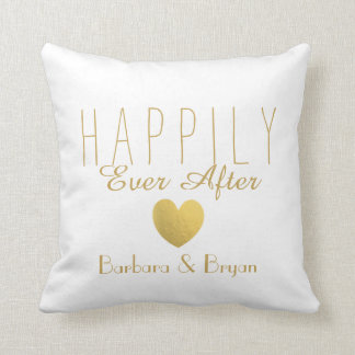 Faux Gold Happily Ever After Throw Pillow