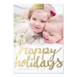 Faux Gold Happy Holidays Photo Modern Photo Card