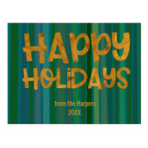 Faux Gold Happy Holidays Typography Green Stripes Postcard