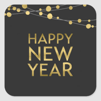Faux Gold Happy New Year Lights Square Sticker