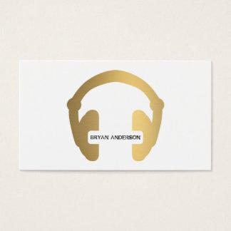 Faux Gold Headphone DJ Business Card