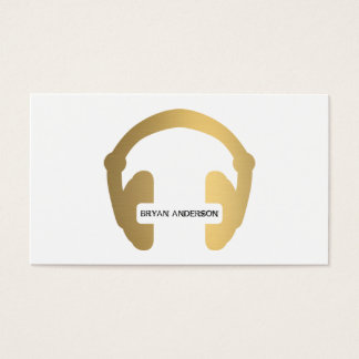 Faux Gold Headphone DJ Business Card