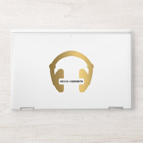 Faux Gold Headphone DJ HP Laptop Skin