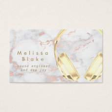 faux gold headphones on marble business card