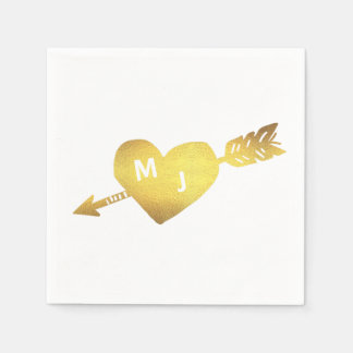 Faux Gold Heart & Arrow Monogram Cocktail Napkins