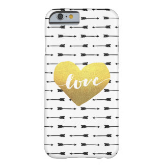 Faux Gold Heart & Arrow Pattern Love   Barely There iPhone 6 Case