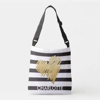 Faux Gold Heart Black Striped Personalized Crossbody Bag