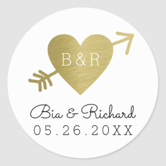 faux gold heart of love classic round sticker
