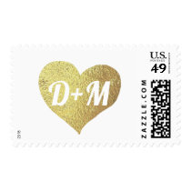 faux gold heart of love with initials monogrammed postage