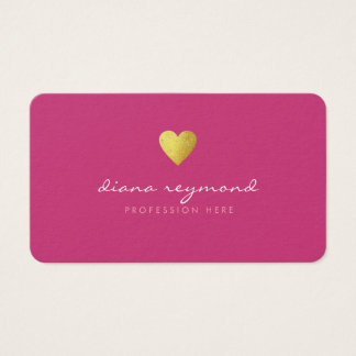 faux gold heart on fuchsia pink feminine pro business card