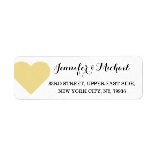 Faux Gold Heart Personalize Wedding Valentines Day Label