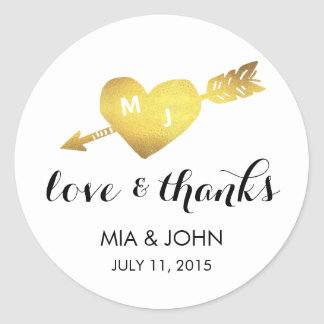 Faux Gold Heart Thank You Monogram Wedding Favor Classic Round Sticker
