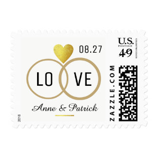 faux gold heart with two wedding rings . love postage