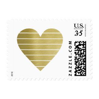 faux gold heart with white stripes, elegant postage