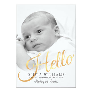Faux Gold Hello Baby Birth Photo Announcement