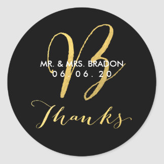 Faux Gold Initial B | Wedding Thank You Sticker