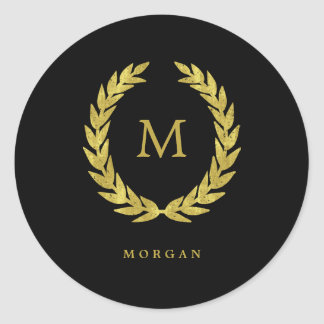 Faux Gold Laurel Wreath on Black with Monogram Classic Round Sticker