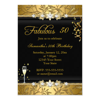 Faux Gold Leaf 50 Fabulous Birthday party Black Card