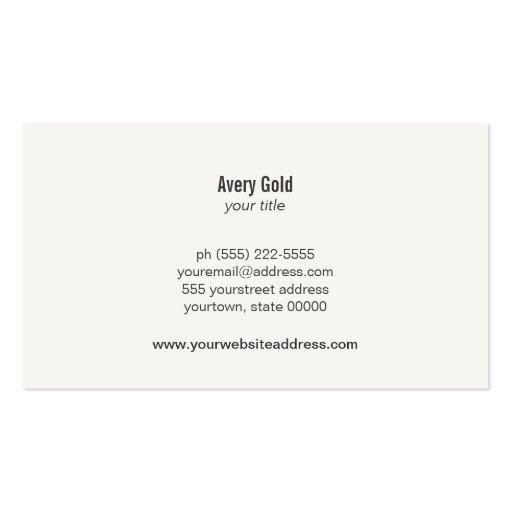 Faux Gold Leaf Circle Wood Modern Business Card (back side)