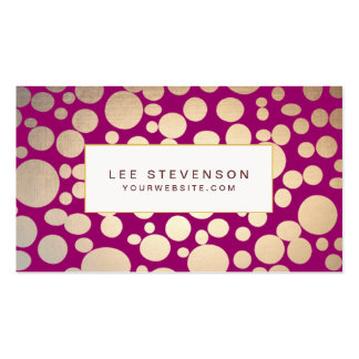 Faux Gold Leaf Circles Burgundy Business Card