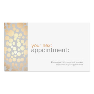 Faux Gold Leaf Circles Gray Appointment Card 1 Double-Sided Standard Business Cards (Pack Of 100)