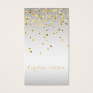 faux gold leaf confetti dots on silver grey metal business card