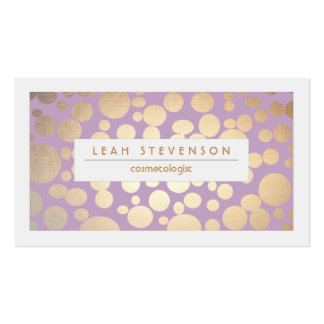 Faux Gold Leaf Cosmetologist Purple Stylist Double-Sided Standard Business Cards (Pack Of 100)