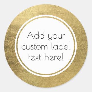 Faux Gold Leaf Custom Craft Favor Wedding Classic Round Sticker