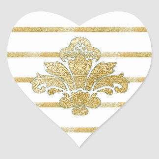 Faux Gold Leaf Damask Heart Sticker Teal