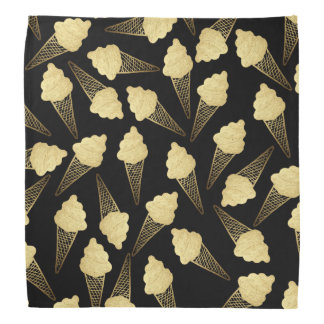 Faux Gold Leaf  Ice Cream Cones on Black Bandana