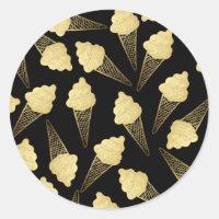 Faux Gold Leaf  Ice Cream Cones on Black