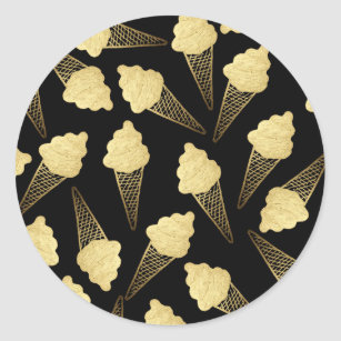Faux Gold Leaf  Ice Cream Cones on Black Classic Round Sticker