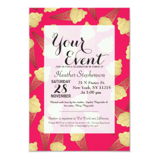 Faux Gold Leaf  Ice Cream Cones on Pink Card