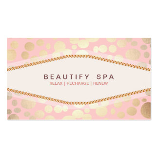 Faux Gold Leaf Look Light Pink Salon Business Card Template