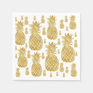 faux gold leaf look pineapples paper napkin