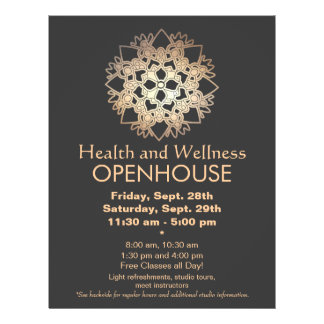 Faux Gold Leaf Lotus Health and Wellness Flyer