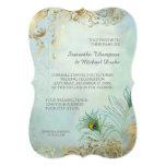 Faux Gold Leaf Peacock Feathers Elegant Wedding Card